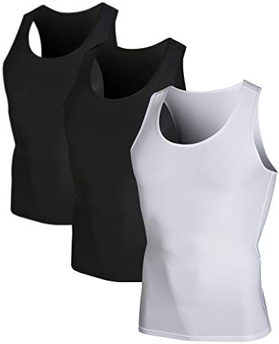 DEVOPS Men's 3 Pack Sleeveless Athletic Cool Dry Compression Muscle Tank Top (2X-Large, Black-Black-White)