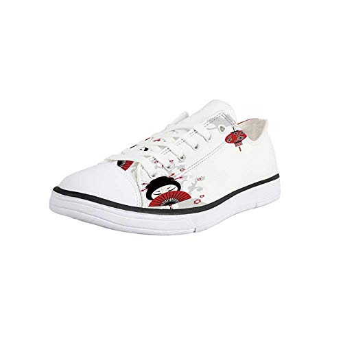 Canvas Sneaker Low Top Shoes,Lantern,Geisha Holding Japanese Fan Floral Landscape Crane Bird Happiness Classical Illustration Man 10