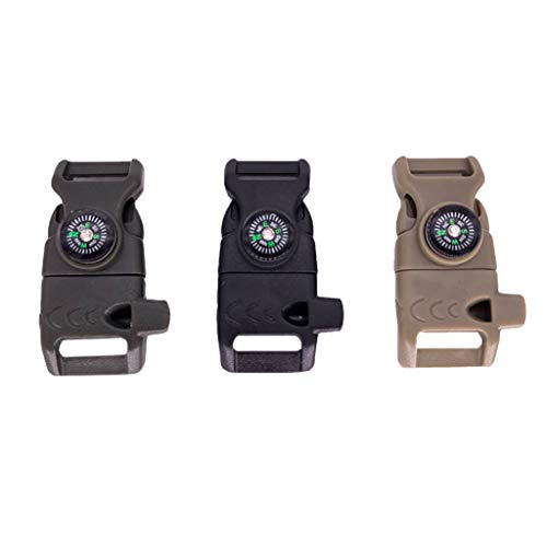 Tuscom 3Pcs Emergency Whistle Buckle Compass Fire Starter Whistle Buckle 5/8 Emergency Survival Paracord Bracelet Buckles for Outdoor Camping Hiking Survival Tools (Black,Army Green,Khaki)