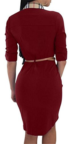 Shirt Wine Cromoncent Red s Slimming Women Dress Semi Mini Clubs Bodycon Belted Sexy Sleeved qgqzFnRC