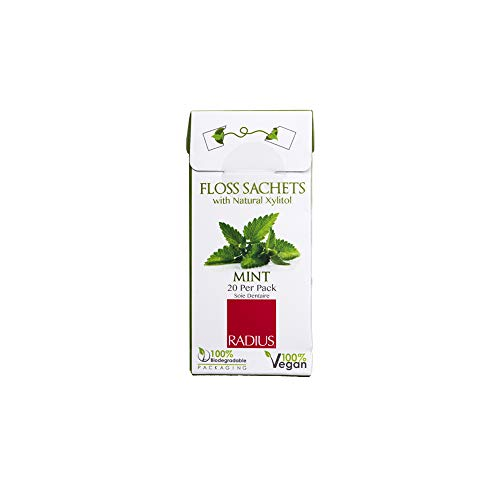 RADIUS Vegan and Biodegradable Floss Sachets with Natural Xylitol, Mint, 10 Count