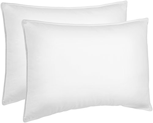 Back 2 Bed - AmazonBasics Down Alternative Bed Pillows for Stomach and Back Sleepers - 2-Pack, Soft Density, Standard