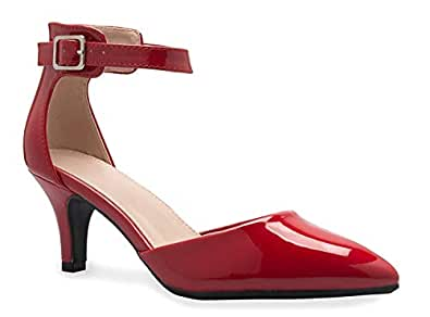 Women's Heel Pumps Ladies Closed Pointed Toe Ankle Strap Dress Stiletto Pump Shoes Red Size: 5