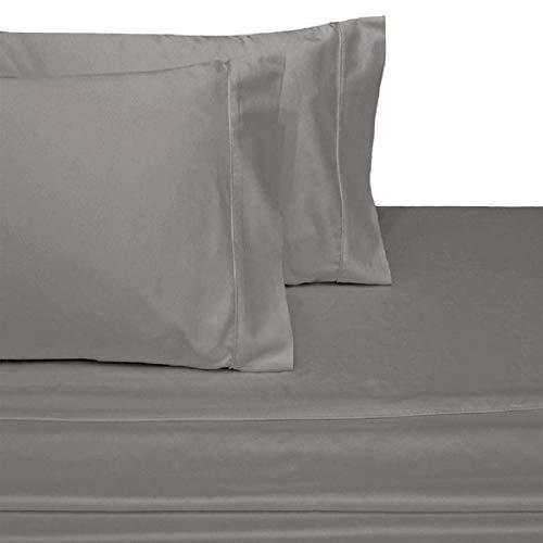Moonlight Bedding 100% Cotton Split-Top-King (Adjustable King Bed Size Sheets) 300TC, Solid Light Grey, Sateen Weave, 18 inch Deep Pocket, 4PC Bed Sheet Set