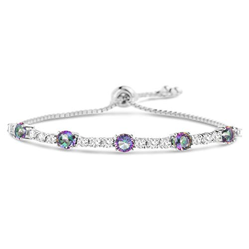 MIA SARINE Simulated Color Change Topaz and CZ Adjustable Bolo Tennis Bracelet for Women in Rhodium Plated 925 Sterling Silver (Purple)