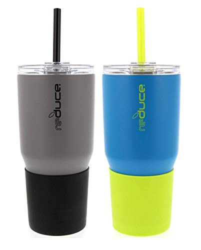 reduce COLD-1 34oz Stainless Steel Insulated Tumbler w/Straw & Lid - Tumbler Keeps Drinks Hot & Cold- A Perfect Water & Coffee Travel Mug For the Office, Car & Home - Gravel/Black & Aqua/Lime, 2 Pack
