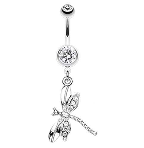 Freedom Fashion Dragonfly Wing Sparkle 316L Surgical Steel Belly Button Ring (Sold by Piece) (14GA, 3/8