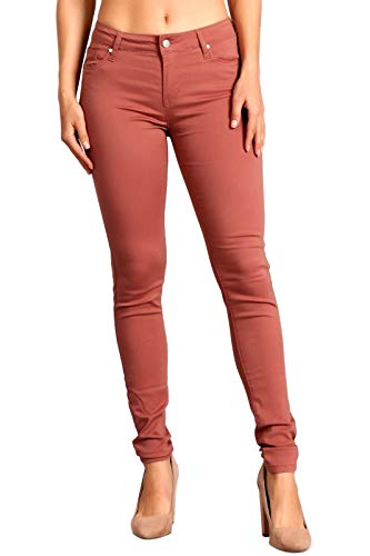 Celebrity Pink Women's Mid Rise Colored Skinny Pants 11 Tea Rose CJ21038Z35
