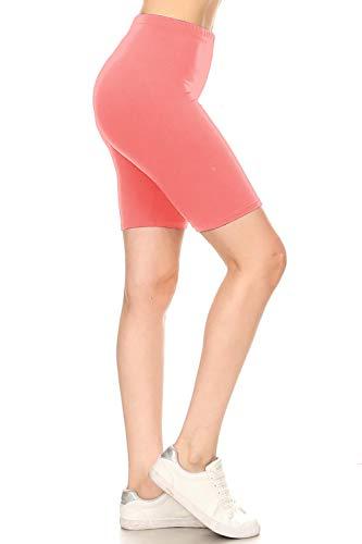 Leggings Depot LBKX128-CORAL-2X High Waisted Solid Biker Shorts, 2X Plus ()