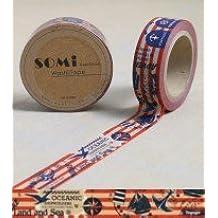 Washi Tape Red White Blue Land Sea Sailing 10m x 1.5 cm
