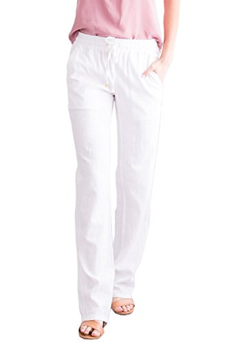 Ybenlow Womens Palazzo Linen Pants Wide Leg High Waisted Drawstring Casual Long Trousers White (Straight Leg Linen Trousers)