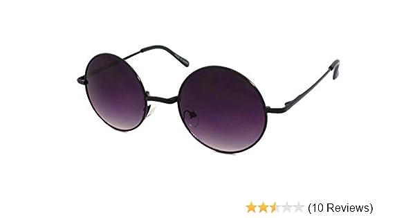b967a0c4c22 Amazon.com  John Lennon Style Vintage Retro Large Round Metal Men Women  Sunglasses (Black...  Clothing