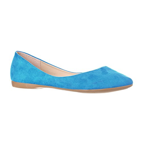 Flat Ballet Toe Ella Suede Shoe Pointed On Women's Slip Riverberry Turquoise Closed Basic XYnZx0wqB