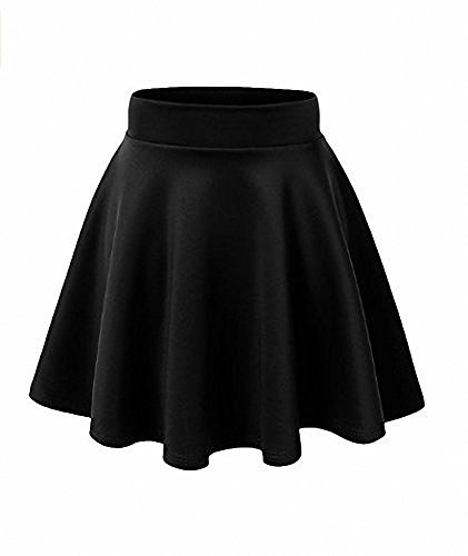 Afibi Girls Casual Mini Stretch Waist Flared Plain Pleated Skater Skirt (Small, -