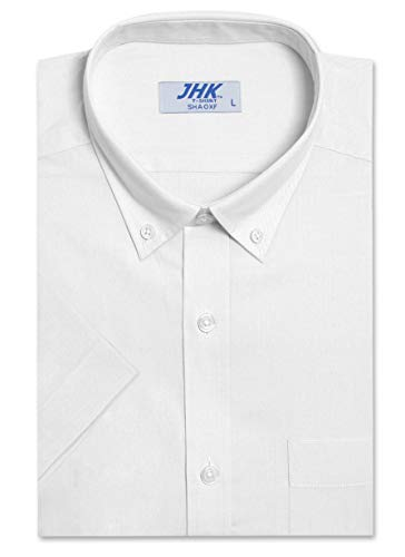 Men's Regular-Fit Oxford Short Sleeve Dress Shirt, White Shirts (2XL) ()
