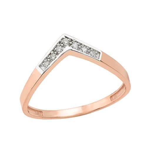 Diamond Claddagh Wedding Band - Solid 14k Rose Gold Round Diamond Wedding Band V Shape Curved Chevron Ring (Size 8)