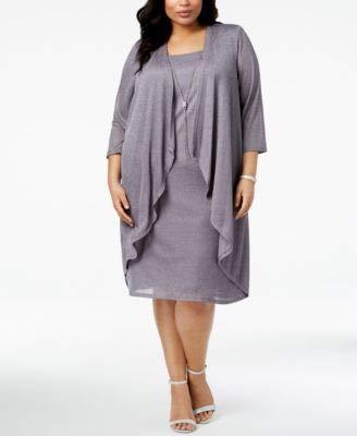 R&M Richards $99 Womens New 1166 Silver Glitter Shift Dress 14W Plus B+B