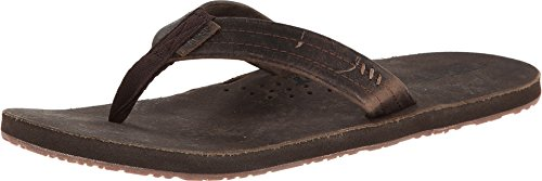 Reef Draftsmen Mens Leather Sandals | Bottle Opener Flip Flops For Men With Soft Cushion Footbed | Waterproof