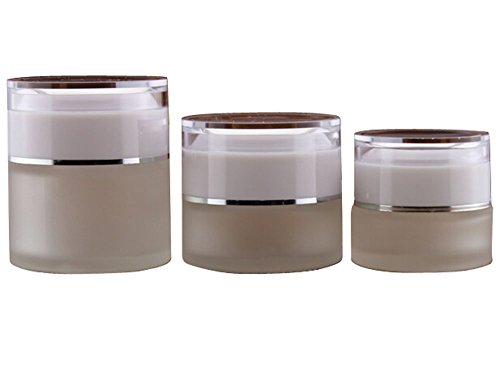 TOPWEL 20g 3PCS Frosted Glass with Acrylic White Lid Empty Refillable Cosmetic Cream Jar Pot Bottle Container (20g)