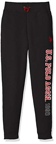 U.S. Polo Assn. Big Boys' Fleece Pant, Knit Side Taping Stripes Iconic Logo Down Leg Black, 10/12