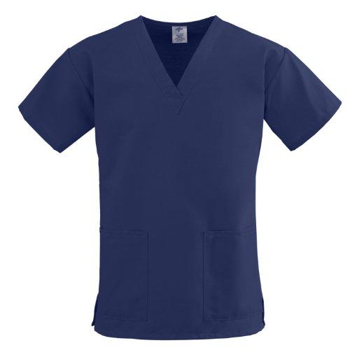 Medline ComfortEase Ladies V-Neck 2 Pocket Scrub Top, X-Small, Midnight - Scrub Top Comfortease