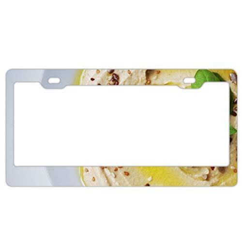 fffvv Hummus Pasta Chickpeas Basil License Plate Covers Chrome License Plate Frame Tag Holder 2 - Peas Hummus Chick