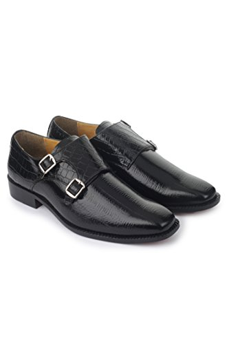 Liberty Double Monk Strap Slip on Shoe 8.5 BLACK