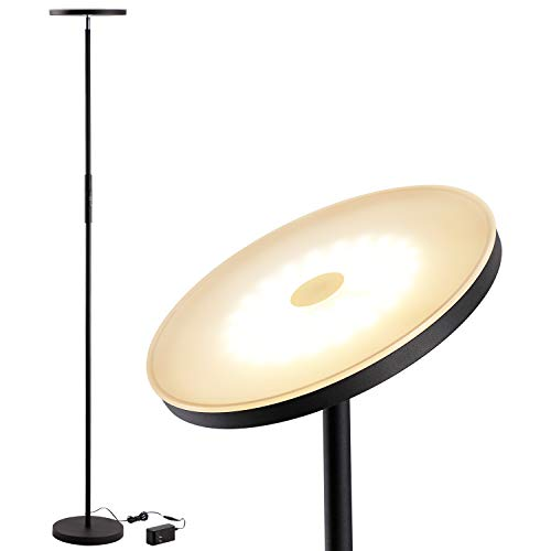 (LEONLITE LED Torchiere Floor Lamp, Dimmable Ambience Pro Warm White, 69-Inch Modern Tall Standing Pole Uplight for Living Room, Dorm, Bedroom and Office - Black)