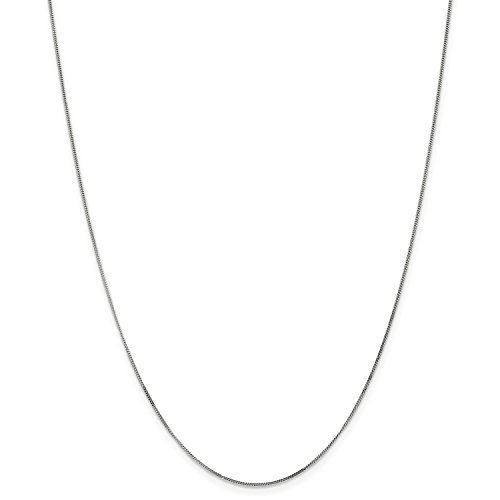 Pendant 18' Curb Chain (Roy Rose Jewelry 14K White Gold .9mm Curb Pendant Chain Necklace ~ Length 18'' inches)