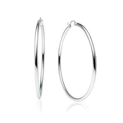 "LOVVE Sterling Silver High Polished Round-Tube Click-Top 2"" Large Hoop Earrings, 2x50mm"