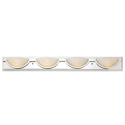 Trans Globe 20224 PC Half Moon - Four Light Bath Bar, Polished Chrome Finish with White Frosted (Half Moon Vanity)