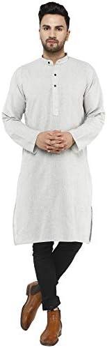 SKAVIJ Men's Casual Khadi Summer Kurta Shirt Long Sleeve Regular