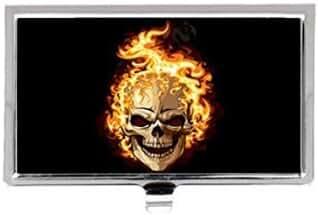 Art Skull on flaming Retro Photo Custom Images Business Card Holder Name Case
