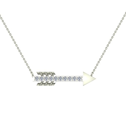 0.11 ct Arrow Diamond Necklace 14K White Gold with 18