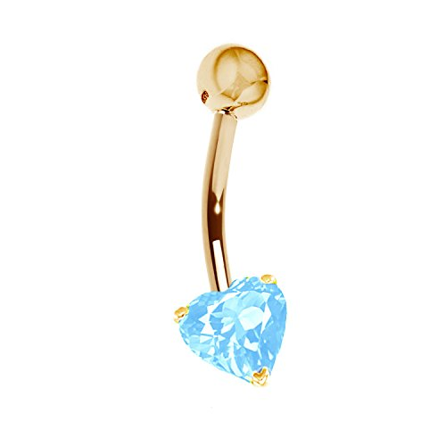 14k Solid Yellow Gold Genuine Blue Topaz Heart Belly Button Navel Ring Body Art (Gold Ring Button 14k Belly)