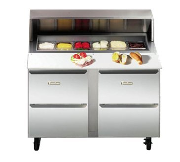 Traulsen UPT3212-D Dealer's Choice Compact Prep Table Refrigerator with roll-top lid which serves as an overshelf (Table Prep Traulsen)