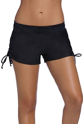 Dokotoo Women's Wide Waistband Swimsuit Bottom Mini Shorts,Black2, Size: US 12-14=Waist 31 inch, Tag Size:Large