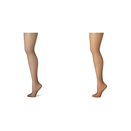 Hanes Women's Control Top Sheer Toe Silk Reflections Panty Hose, Barely Black/Gentle Brown, E/F
