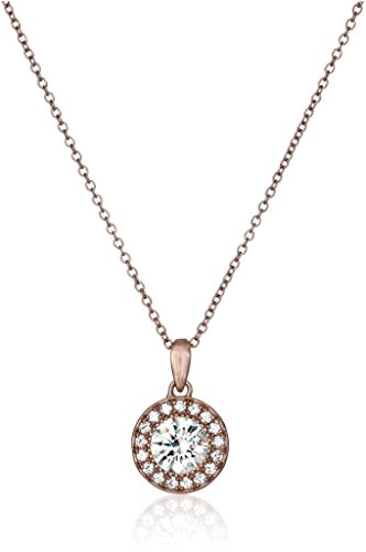 Rose Gold Plated Sterling Silver Halo Pendant Necklace set with Round Cut Swarovski Zirconia, 16