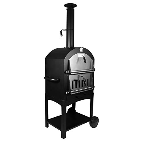 LungMongKol Shop Stainless Steel Outdoor Pizza Bread Oven Wood Fire Cover Free-Standing, Grill Thermometer, Cooking Grid, Wire Bottom Shelf for BBQ Smoker Combination Unit Firewood Charcoal -
