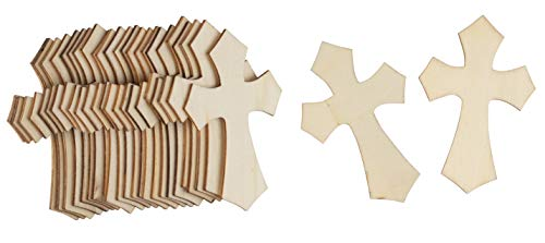Unfinished Wood Cutout - 50-Pack Antique Cross Shaped Wood Pieces for Wooden Craft DIY Projects, Sunday School, Church, Home Decoration, 2.7 x 4.2 x 0.15 inches
