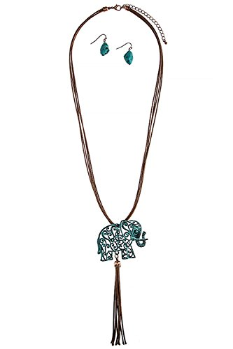 [THE JEWEL RACK SCROLL PATTERN ELEPHANT CORD NECKLACE SET (Antique/Turquoise)] (Lobster Claw Costume Pattern)
