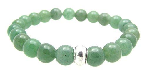 Heart Chakra Bracelet 4th Chakra Balancing Green Aventurine Gemstone Beaded Elastic Bracelet, 7 3/4