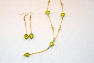 Lime murano glass dangle heart necklace and earrings ()