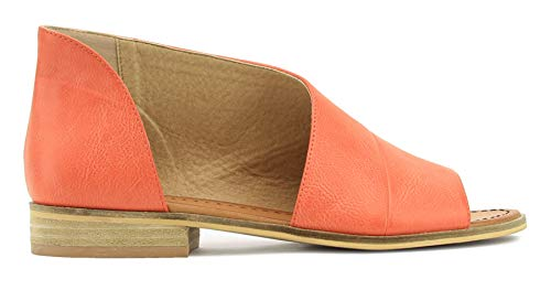 Beast Fashion Lotus-01 Women D'Orsay Slip On Open Toe Extreme Cut Out Ankle Flat Bootie (Coral), 8.5 M US