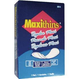 Hospeco Maxithins #4 Full Protection Sanitary Napkins Individually Boxed, 250/Case - HOSMT4 (HOS MT-4)