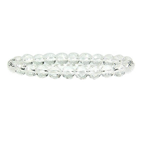 Natural Faceted Clear Quartz Gemstone 8mm Round Beads Stretch Bracelet 7
