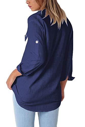 Uni Col Femme Romancan avec Chemisier Boutons Bleu Montant CwCqxSBP