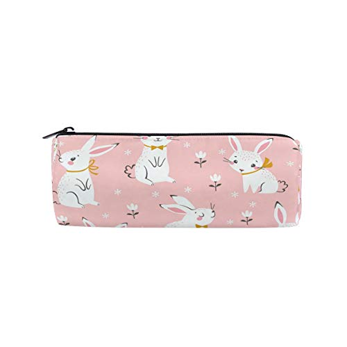 - Pink Cute White Rabbit Flower Pen Case School Pencil Holders Kids Drum Large Capacity Pouch Makeup Cosmetic Boxes Office Travel Bag