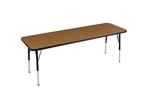 ECR4Kids Everyday 24″ x 72″ Rectangular Activity School Table, Standard Legs w/Swivel Glides, Adjustable Height 19-30 inch (Oak/Black) Review